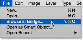 اتخاب فرمانBrowse in Bridge در منوی File در فتوشاپ