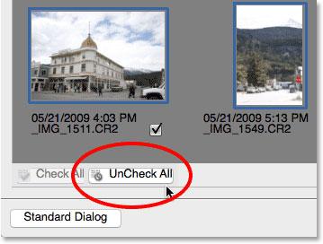 گزینهUnCheck All را درPhoto Downloader انتخاب کنید