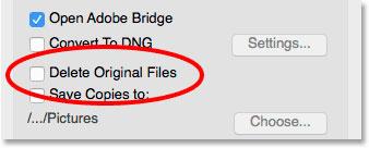 گزینهDelete Original Files در Photo Downloader
