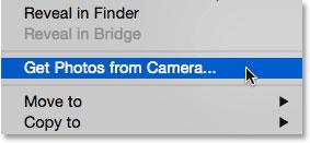 انتخاب فرمان گرفتن عکس از دوربین از زیر منوی File در Adobe Bridge