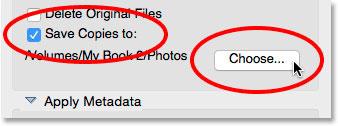 گزینهSave Copies to در Photo downloader