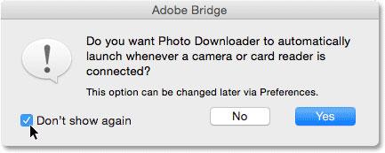 بریج می پرسد آیا میخواهید Photo Downloader به طور خودکار راه اندازی شود (فقط مکینتاش)