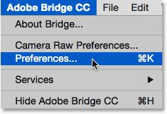 انتخاب تنظیمات از زیر منوی Adobe Bridge CC