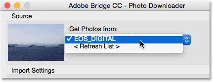 انتخاب کارت حافظه به عنوان منبع عکس ها، برای دانلود