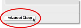 کلیک بر روی دکمه Advanced Dialog در Photo Downloader