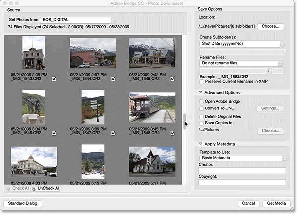 The Adobe Photo Downloader advanced dialog
